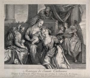view Saint Catherine of Alexandria. Etching by F. Hortemels, 173-, after P. Caliari, il Veronese.