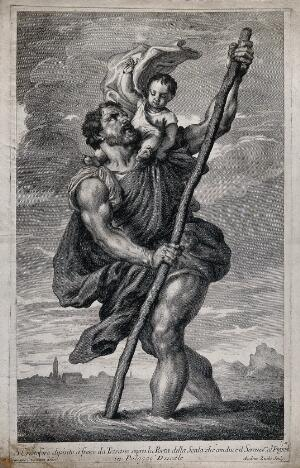 view Saint Christopher. Etching by A. Zucchi after G. Camerata after Titian.