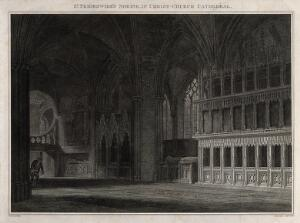 view Christ Church Cathedral, Oxford: the shrine believed to be of Saint Frideswide. Engraving by J. Skelton, 1815, after C. Wild.