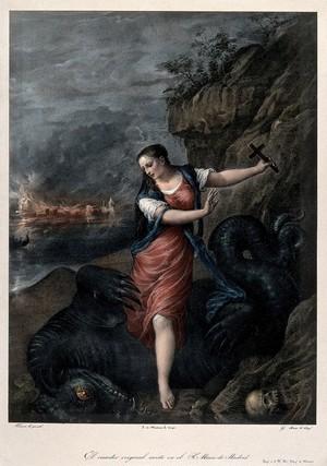 view Saint Margaret. Coloured lithograph by G. Sensi y Baldachi after Titian.
