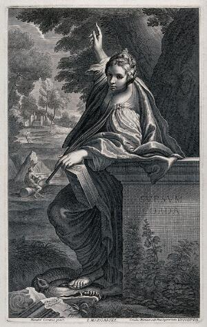view Saint Margaret. Engraving by C. Bloemaert after Annibale Carracci.