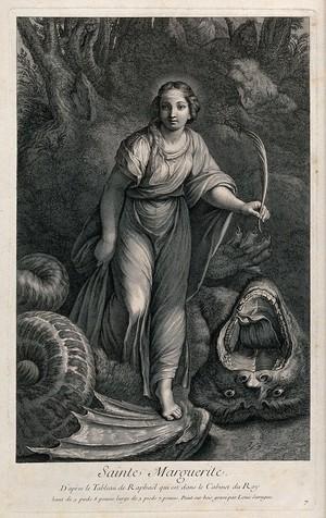 view Saint Margaret. Engraving by P.L. de Surugue after Raphael.