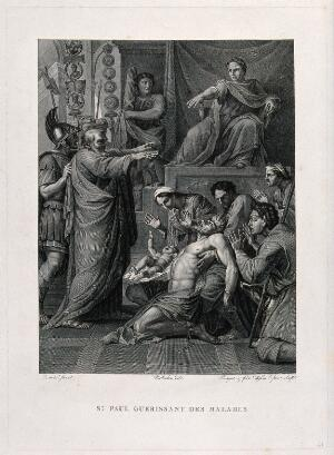 view Saint Paul healing the sick. Engraving by H. Pauquet and J. Massard, 18--, after Molinchon after E. Le Sueur, 1645.