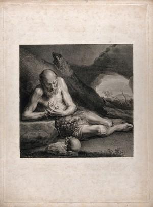 view Saint Paul the Hermit. Engraving by P. Trière, 1797, after A. Esteve after J. Ribera.