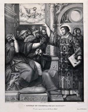 view Saint Stephen, the first martyr. Lithograph by P. Guglielmi after Masip (Juan de Juanes).