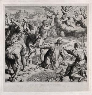 view Martyrdom of Saint Stephen, the first martyr. Engraving by W.H.L. Grüner, 1867, after N. Consoni after Raphael.