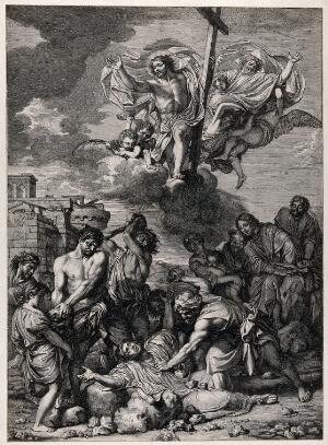 view Martyrdom of Saint Stephen, the first martyr. Engraving by G. Audran after C. Lebrun.