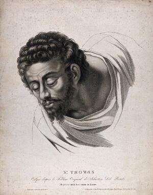 view Saint Thomas. Stipple engraving by A. Noel, 1806, after Sebastiano del Piombo.