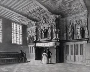 view The Franc (Liberty, castellany) of Bruges: a sculpted fireplace in the magistrates' assembly hall of the castle (Landhuis). Lithograph by E. Manche.