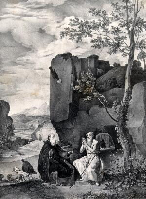 view Saint Antony Abbot with Saint Paul the Hermit. Lithograph by F. Blanchar after D.R. de Silva Velazquez.