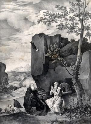 view Saint Antony Abbot with Saint Paul the Hermit. Lithograph by F. Blanchard after D.R. de Silva Velazquez.