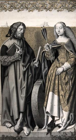 view Saint James the Less and Saint Christina. Colour lithograph by N.J. Strixner, 1829, after Lucas van Leyden.