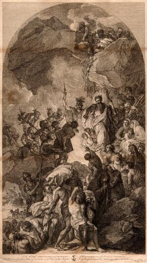 view Saint Paul the Apostle. Etching by F. Bartolozzi, 1791, after B. West.