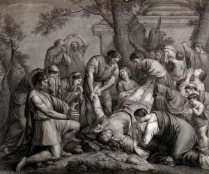 view Martyrdom of Saint Stephen. Engraving by F.G. Aliamet, 1773, after E. Le Sueur.