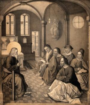 view Saint John the Evangelist (?) addressing five disciples. Lithograph by N.J. Strixner after Israel van Meckenem (?).