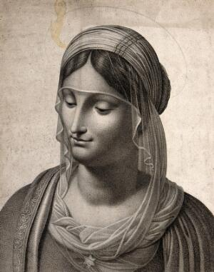 view Saint Mary (the Blessed Virgin). Stipple engraving by C. Noel after B. Luini.