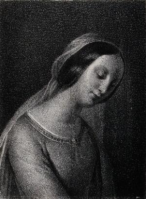 view Saint Mary (the Blessed Virgin). Lithograph.