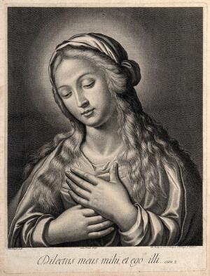 view Saint Mary (the Blessed Virgin). Engraving by J. Boulanger, 16--.