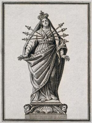 view Saint Mary (the Blessed Virgin). Etching.
