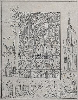 view Saint Mary (the Blessed Virgin): the pilgrimage to the Holy Mountain (?) on the feast of her assumption. Lithograph by C. Schraudolph after C. Eberhard.