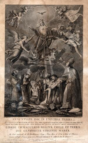 view Saint Mary (the Blessed Virgin): the celebration of her Sacred Heart. Engraving by G. Petrini after J. Olivieri.
