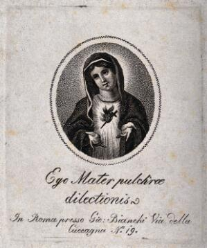 view Saint Mary (the Blessed Virgin). Engraving.