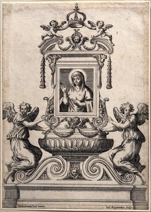 view Saint Mary (the Blessed Virgin). Engraving by V. Regnard after P. Berrettini [Pietro da Cortona].