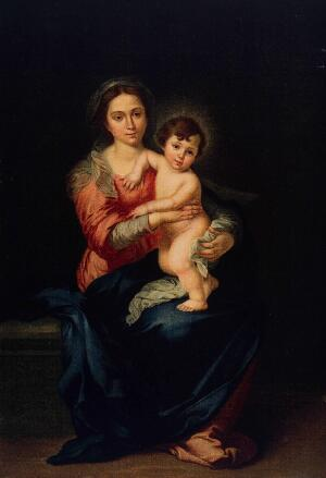 view Saint Mary (the Blessed Virgin) with the Christ Child. Colour process print after B.E. Murillo.