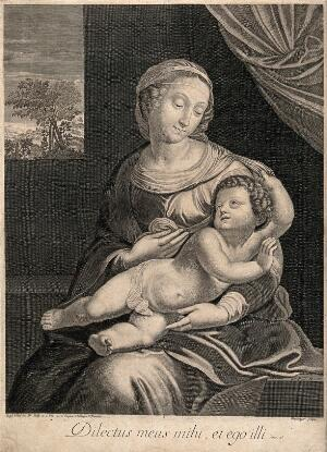 view Saint Mary (the Blessed Virgin) with the Christ Child. Engraving by J. Boulanger after Raphael.