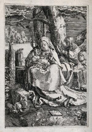 view Saint Mary (the Blessed Virgin) with the Christ Child. Etching after Lucas van Leyden, 1523.