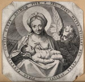 view Saint Mary (the Blessed Virgin) with the Christ Child and an angel. Engraving by J. Sadeler after Annibale Carracci.