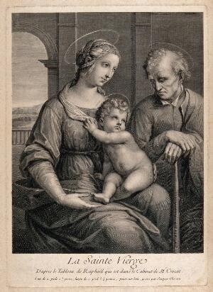 view Saint Mary (the Blessed Virgin) and Saint Joseph with the Christ Child. Engraving by J. Chereau, ca. 1729, after Raphael.
