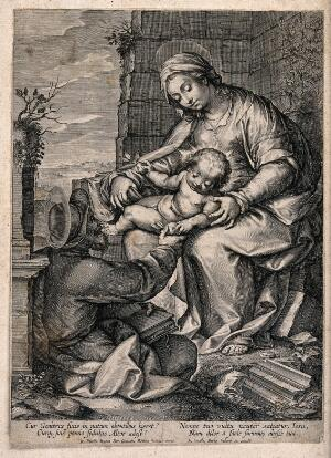 view Saint Mary (the Blessed Virgin) and Saint Joseph with the Christ Child. Engraving by G.B. Barbe after G.B. Paggi.