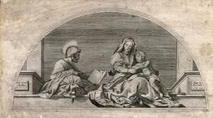 view Saint Mary (the Blesesed Virgin) and Saint Joseph with the Christ Child. Engraving after Andrea del Sarto, 1573.