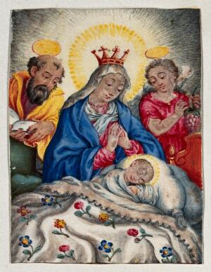 view Saint Mary (the Blessed Virgin) and Saint Joseph with the Christ Child. Gouache painting.