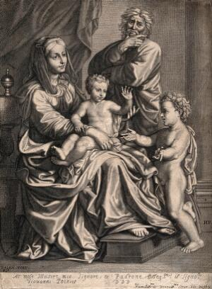 view Saint Mary (the Blessed Virgin) and Saint Joseph with the Christ Child and Saint John the Baptist. Engraving by A. Voet after N. Poussin.