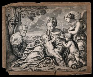 view Saint Mary (the Blessed Virgin) and Saint Joseph with the Christ Child, Saint John the Baptist and an angel. Engraving by J. Boulanger after S. Cantarini.
