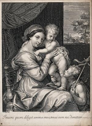 view Saint Mary (the Blessed Virgin) with the Christ Child and Saint John the Baptist. Engraving by J. Boulanger after P. Mignard.