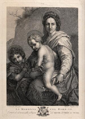view Saint Mary (the Blessed Virgin) with the Christ Child and Saint John the Baptist. Engraving by R. Morghen after Andrea del Sarto.