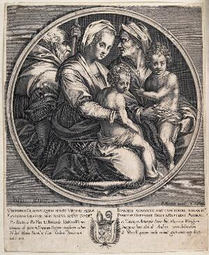 view Saint Mary (the Blessed Virgin) and Saint Joseph with the Christ Child, Saint John the Baptist and Saint Elisabeth. Line engraving by J. Callot after Andrea del Sarto.