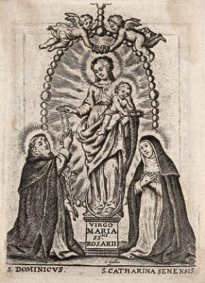 view Saint Mary (the Blessed Virgin) with the Christ Child, Saint Dominic Guzman and Saint Catherine of Siena. Engraving by C. Galle.