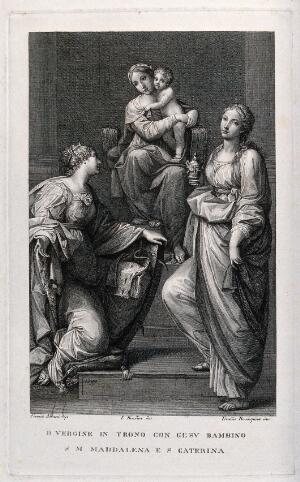 view Saint Mary (the Blessed Virgin) with the Christ Child, Saint Catherine of Siena and Saint Mary Magdalen. Engraving by F. Rosaspina, after L. Bendini after F. Albani, 1599.