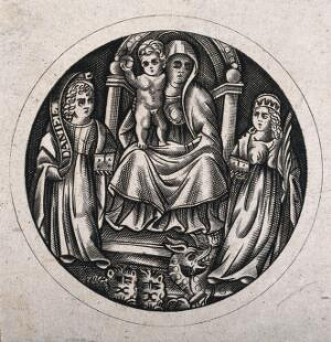 view Saint Mary (the Blessed Virgin) with the Christ Child, Saint Daniel and Saint Margaret of Antioch. Engraving.