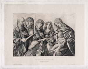 view Saint Mary (the Blessed Virgin) with the Christ Child, Saint Paul the Apostle, Saint George, two women saints and a donor. Engraving by F. Gaillard after G. Bellini.