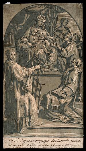 view Saint Mary (the Blessed Virgin) with the Christ Child, Saint Laurence and other figures. Colour etching by A.-C.-P. de Tubières, Comte de Caylus, and woodcut by N. Le Sueur after P. de Pietri.