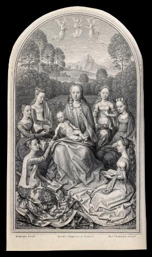 view Saint Mary (the Blessed Virgin) with the Christ Child, Saint Catherine of Alexandria, Saint Agnes, Saint Cecilia, Saint Lucy, Saint Margaret of Antioch and Saint Barbara. Engraving by A. François, 1873, after H. Memlinc.