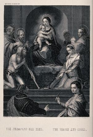 view Saint Mary (the Blessed Virgin) with the Christ Child, four male saints, Saint Antony of Padua, Saint Catherine of Alexandria and Saint Mary Magdalen. Engraving by A.H. Payne after Andrea del Sarto.