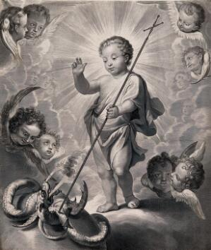 view The Christ Child triumphing over the devil. Engraving by G. Edelinck after D. Hallé.
