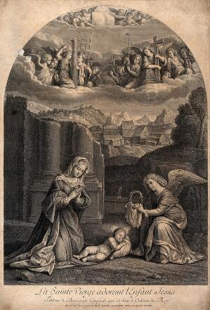 view Saint Mary (the Blessed Virgin) with the Christ Child and angels holding instruments of the Passion. Engraving by J. de Poilly after Benvenuto Tisi, il Garofalo.