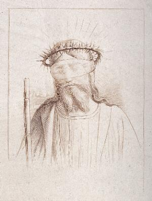 view Christ as the Man of Sorrows. Etching.